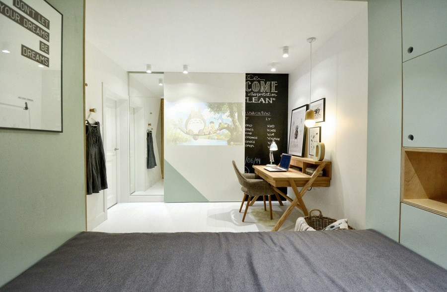 1-2-teenage-girl's-room-bedroom-interior-design-multifunctional-podium-bed-white-walls-plywood-veneer-furniture-gray-accents-sliding-door-blackboard-chalkboard-wall-wiriting-desk-posters-projector-screen-mirror