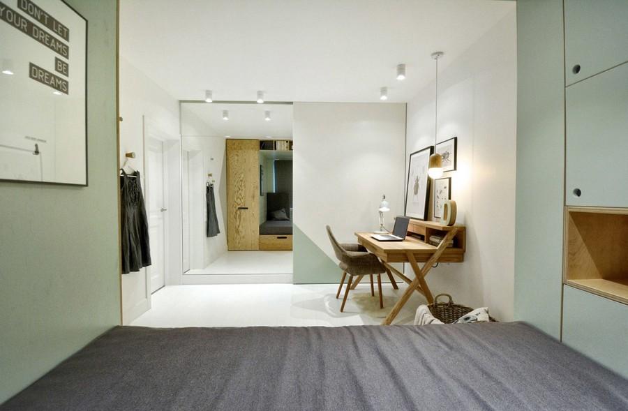 1-3-teenage-girl's-room-bedroom-interior-design-multifunctional-podium-bed-white-walls-plywood-veneer-furniture-gray-accents-sliding-door-mirror-wall-wiriting-desk-posters