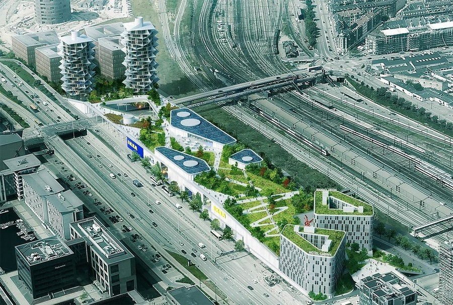 1-Cacti-Towers-project-3D-renders-in-Copenhagen-new-urban-IKEA-mall-hotel-Denmark-modern-architecture-unusual-buildings-hexagonal-balconies