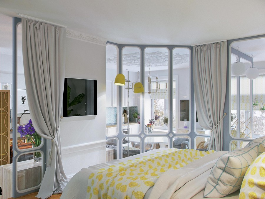 1-master-bedroom-in-the-studio-open-plan-kitchen-living-dining-room-on-a-podium-TV-set-glass-wall-partition-gray-curtains-yellow-bed-cover