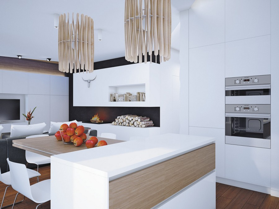 1-open-plan-minimalist-style-living-room-kitchen-dining-area-interior-black-and-white-walls-plasterboard-fireplace-surround-firewood-wooden-table-island-pendant-lamps-TV-built-in-ovem