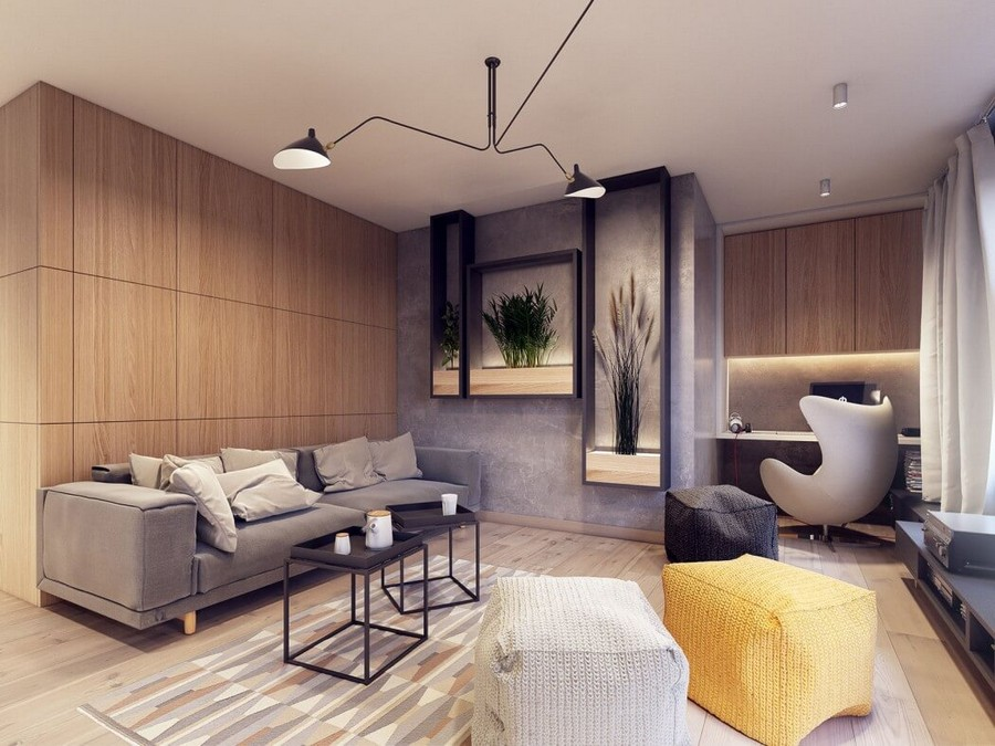 10-2-MDF-panels-boards-in-interior-design-wall-decoration-decor-eco-style-contemporary-wall-recess-alcobe-with-plants-pots-coffee-tables-arm-chair-with-ears-yellow-ottoman-gray-sofa-geometrical-rug