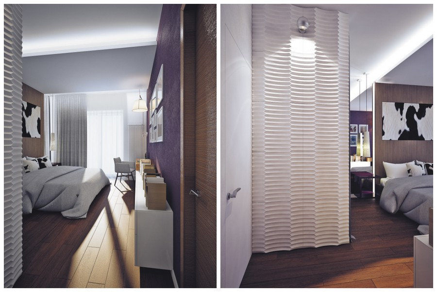 10-2-contemporary-chalet-style-bedroom-parquet-boards-on-the-wall-cow-skin-wall-decor-pendant-lamps-gray-bedspread-arm-chair-curtains-work-area-desk-3D-wall-art
