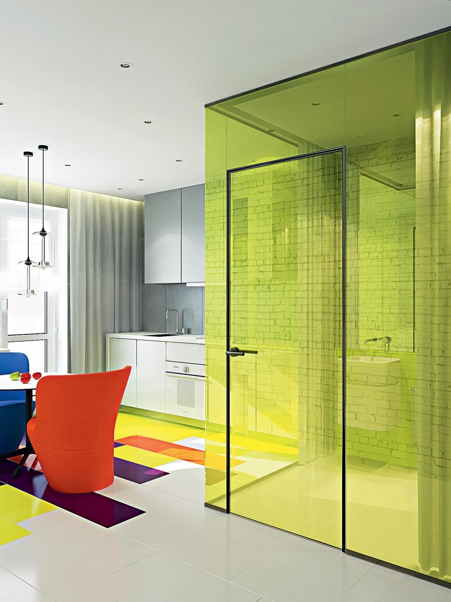 10-bright-pop-art-style-kitchen-white-cabinets-multicolor-floor-mismatched-red-blue-yellow-accents-chairs-transparent-lime-glass-wall-partition-room-divider-bathroom-wall-mounted-wash-basin