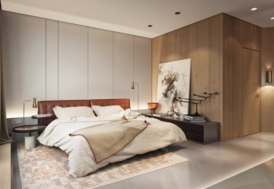 11-1-MDF-panels-boards-in-interior-design-wall-decoration-decor-built-in-closet-invisible-door-abstract-painting-bedroom-brass-lamps-contemporary-style