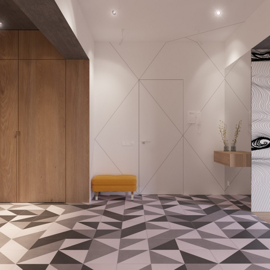 11-2-MDF-panels-boards-in-interior-design-wall-decoration-decor-built-in-closet-doors-invisible-white-door-geometrical-floor-tiles-yellow-ottoman-hallway-entrance-hall-mudroom