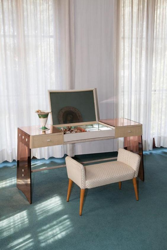 11-Italian-villa-interior-design-by-Osvaldo-Borsani-art-deco-style-dressing-table-padded-stool-gorgeous-luxurious-with-drawers