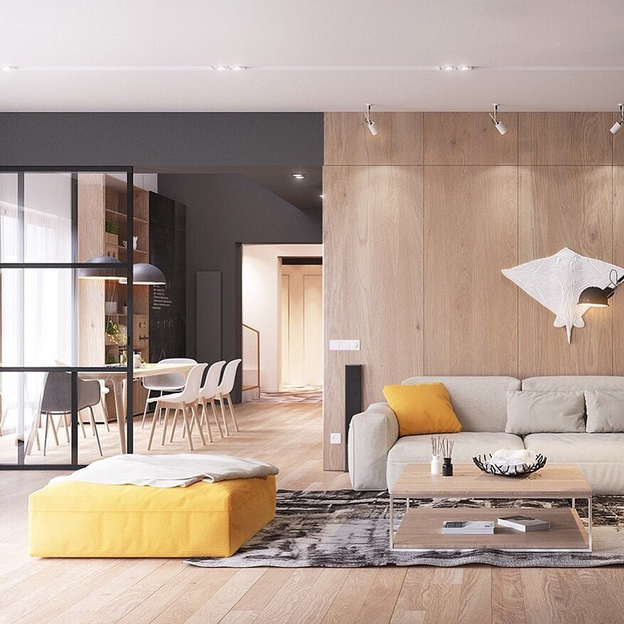 12-2-MDF-panels-boards-in-interior-design-wall-decoration-decor-open-plan-living-room-gray-sofa-yellow-accents-rug-coffee-table-ottoman-throw-pillow-dining-area-glass-wall