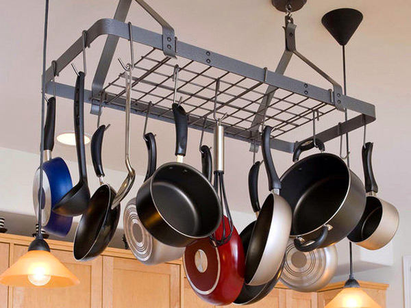 12-small-kitchen-storage-ideas-design-hacks-rational-space-ceiling-mounted-metal-pot-pan-holder