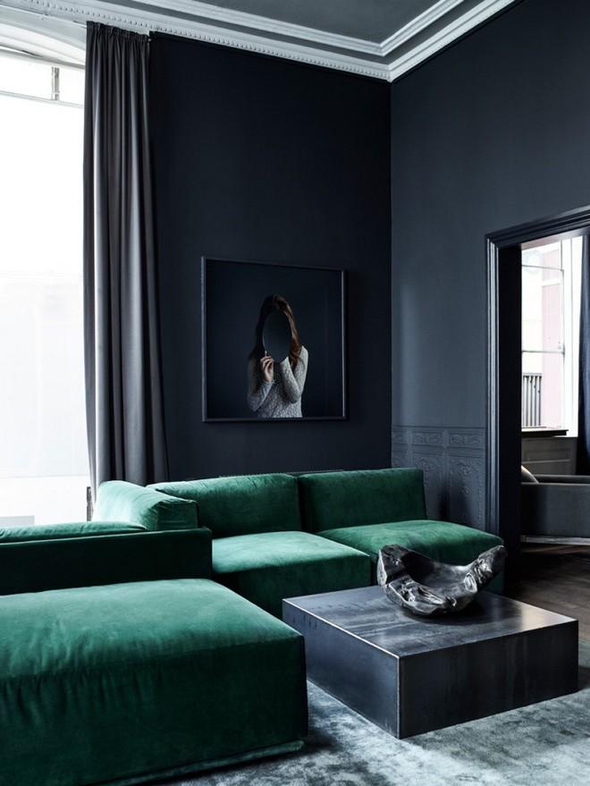 18-black-walls-black-walled-room-in-interior-design-white-crown-moldings-dark-ceiling-green-velvet-sofa-living-room
