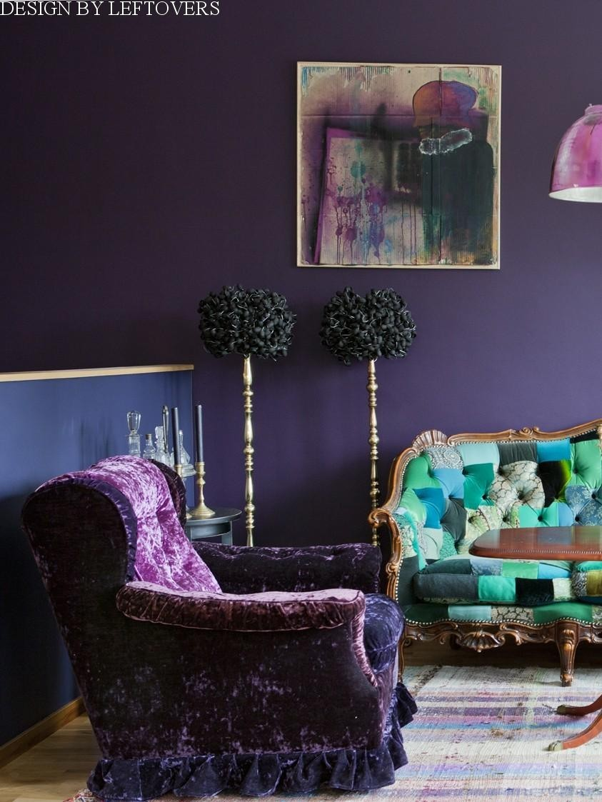 2-1-zero-waste-target-production-of-furniture-from-recycled-waste-Design-by-Leftovers-Sweden-reused-fabrics-old-clothes-arm-chair-sofa-purple-green-gothic-style