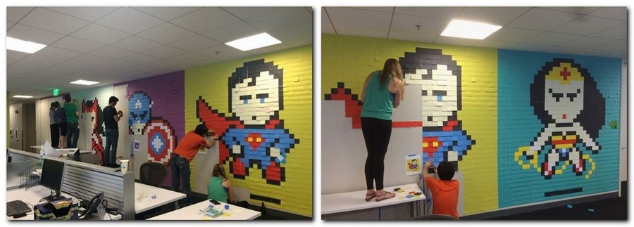 2-2-creative-office-interior-ideas-pixel-style-wall-decor-from-sticky-notes-multicolor-super-heroes