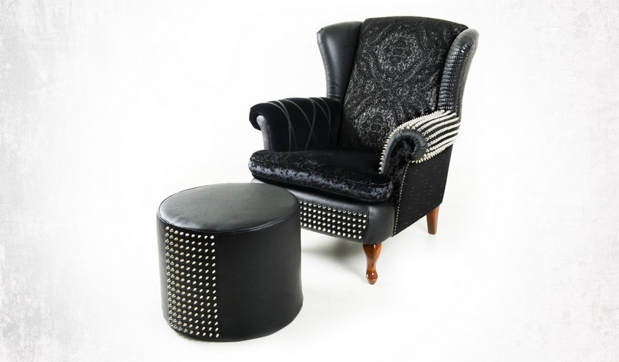 2-2-zero-waste-target-production-of-furniture-from-recycled-waste-Design-by-Leftovers-Sweden-black-reused-fabrics-old-clothes-arm-chair-ottoman-padded-stool