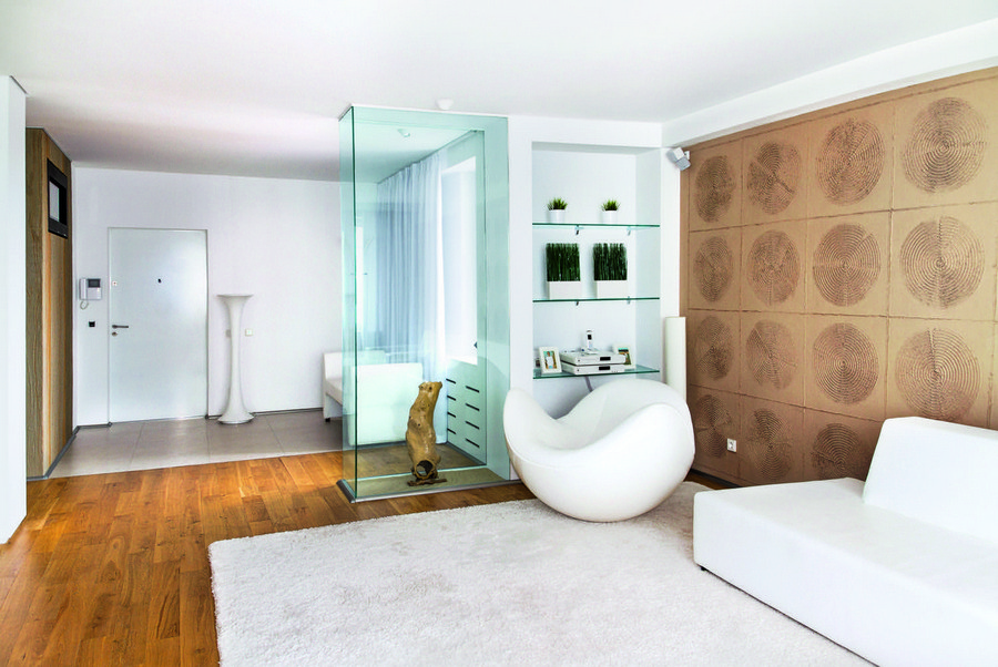 2-display-window-showcase-room-divider-glass-art-object-living-room-open-to-mudroom-entrance-hall-hallway-parquet-and-floor-tiles-white-sofa-futuristic-arm-chair-wooden-cross-sections-wall-decor