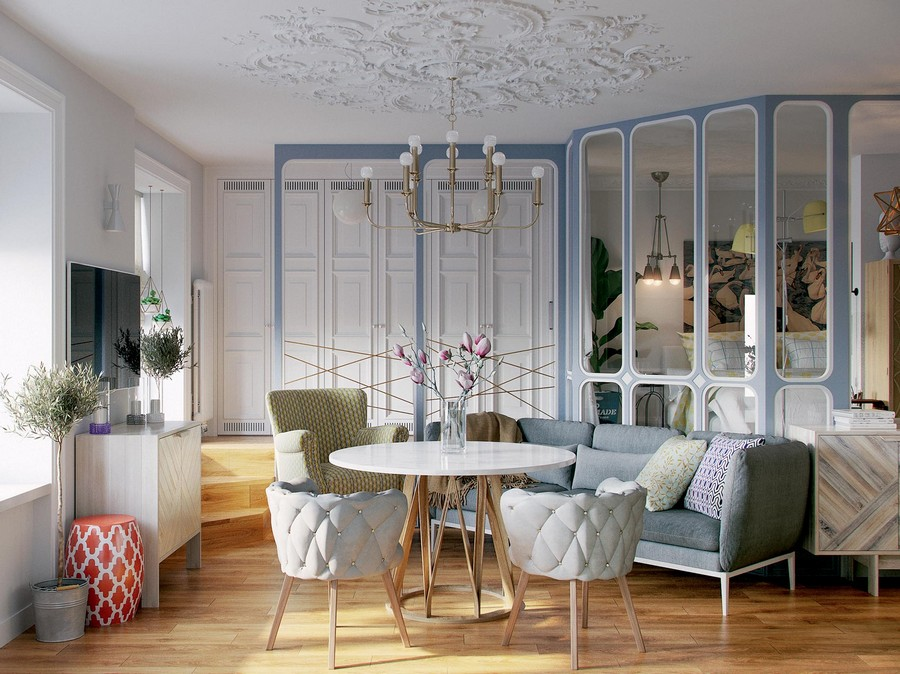 2-living-room-lounge-with-a-bedroom-sleeping-area-on-a-podium-glass-wall-partition-wall-to-wall-built-in-closet-with-air-vents-TV-set-chest-of-drawers-dining-round-table-sofa-arm-chairs-upholstered