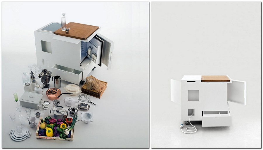 2-multifunctional-small-mini-kitchen-set-redesign-by-Boffi-Cucine-Italian-design-by-Joe-Colombo-all-inclusive-trolley-storage-compartments-sockets-white-corian