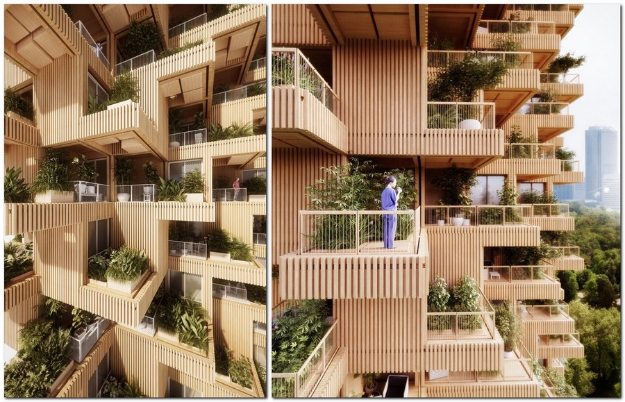 2-wooden-timber-log-house-tower-residential-multi-storey-building-in-Toronto-Canada-by-Penda-Architects-vertical-garden-green-eco-friendly-architecture