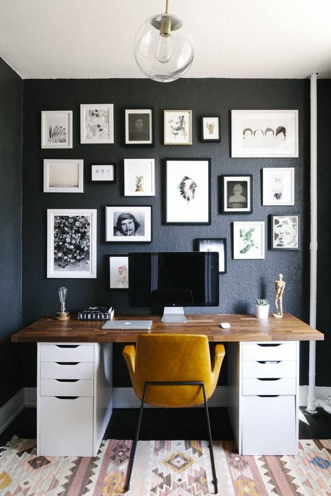 20-black-walls-black-walled-room-in-interior-design-home-office-work-area-ethnic-style-rug-wall-art-photo-gallery-desk-computer-white-drawers