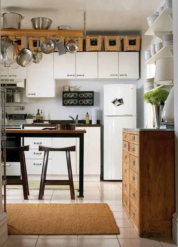 24-small-kitchen-storage-ideas-design-hacks-rational-space-white-cabinets-chest-of-drawers-wicker-baskets-refrigerator