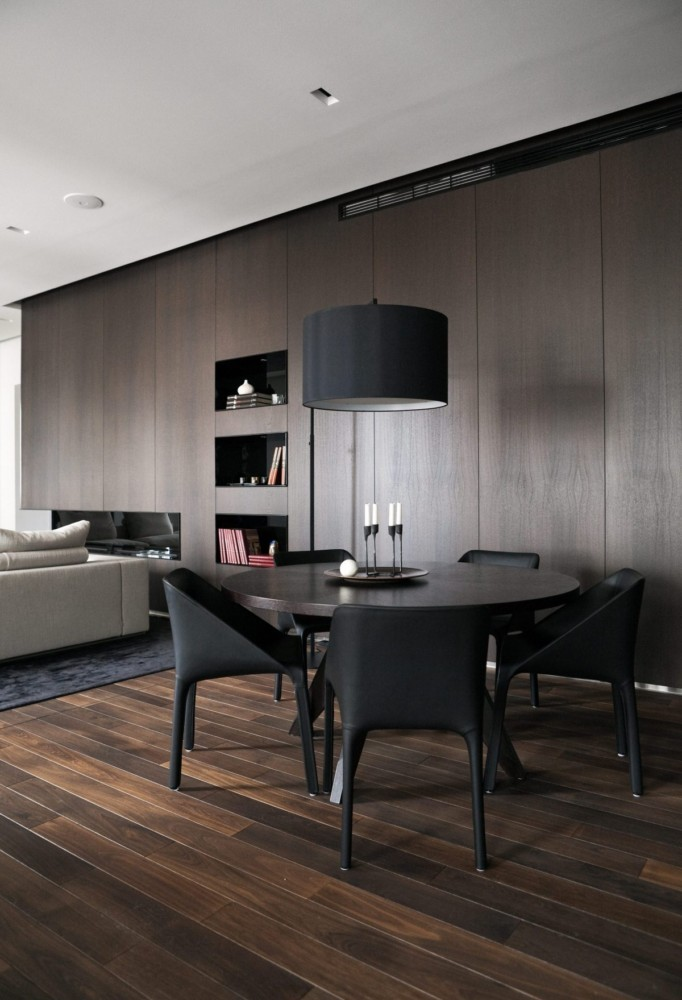 3-MDF-panels-boards-in-interior-design-wall-decoration-decor-open-plan-living-room-dining-area-dark-wooden-round-table-chairs-pendant-lamp-parquet-floor