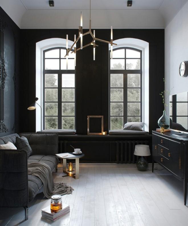 3-black-walls-black-walled-room-in-interior-design-wall-moldings-living-room-gray-sofa-TV-set-arch-shaped-windows