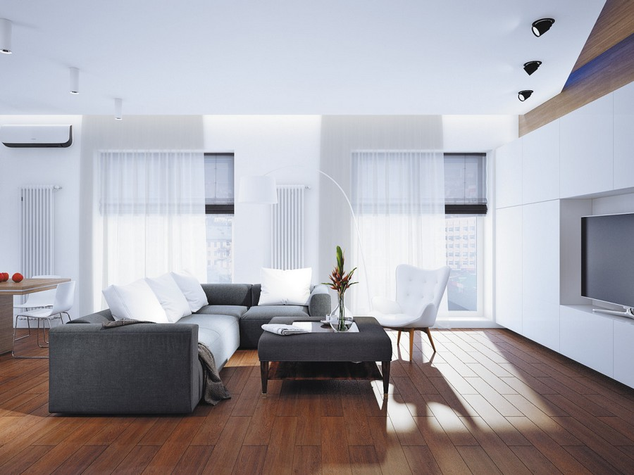 3-open-plan-minimalist-style-living-room-lounge-dining-area-interior-white-walls-gray-corner-sofa-TV-set-upholstered-coffee-table-wall-mounted-tall-radiators
