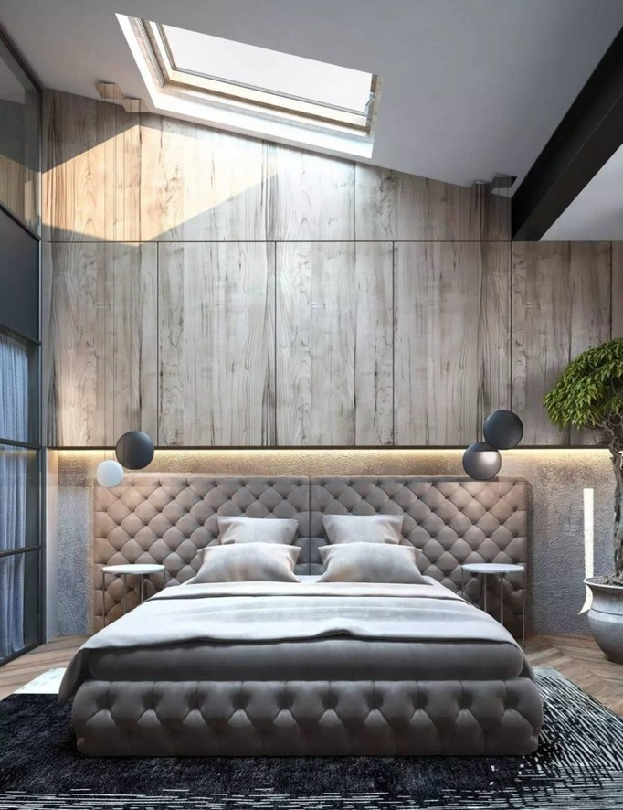 4-1-MDF-panels-boards-in-interior-design-wall-decoration-decor-bedroom-in-contemporary-style-attic-floor-skylight-uphostered-capitone-bed-headboard-rug-bedside-tables-indoor-plant