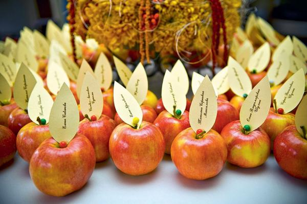 4-1-outdoor-wedding-in-the-garden-decoration-ideas-beautiful-decor-guest-name-cards-on-apples-stylized-creative-ideas-handmade
