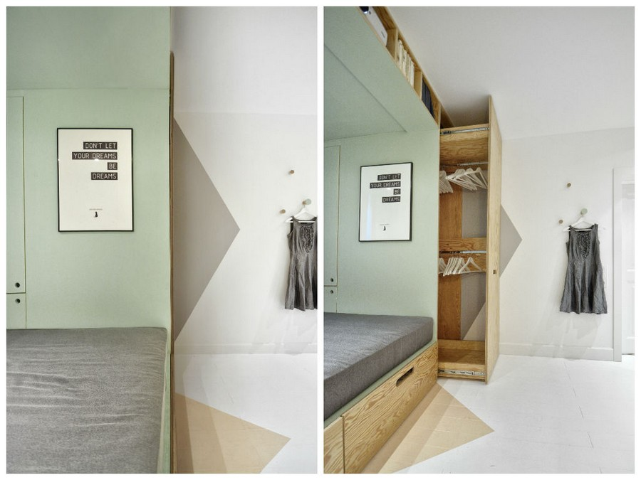 4-2-teenage-girl's-room-bedroom-interior-design-multifucntional-podium-bed-white-walls-plywood-veneer-furniture-gray-accents-geometrical-floor-wall-decor-painted-triangles-poster