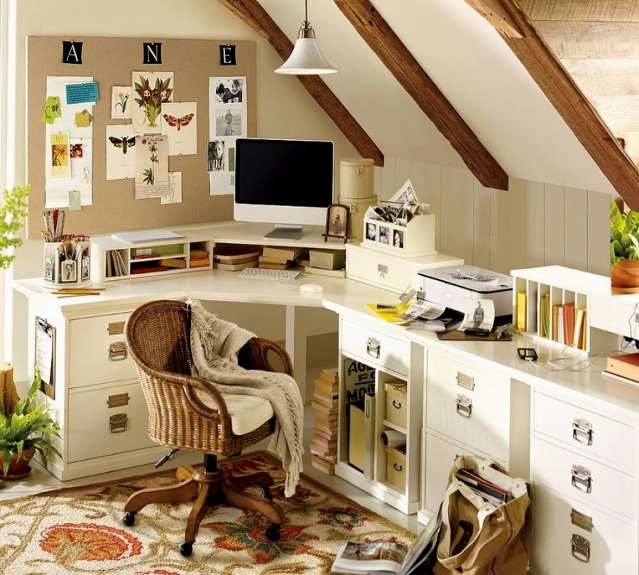 4-home-office-interior-design-ideas-inspiring-beautiful-cozy-work-area-beige-walls-wicker-chair-blanket-white-corner-desk-with-drawers-storage-mood-board-cork-inspiration-board-carpet