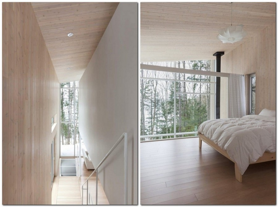 4-light-wood-house-interior-in-the-wood-Canada-panoramic-windows-light-airy-white-bedroom-minimalist-ascetic