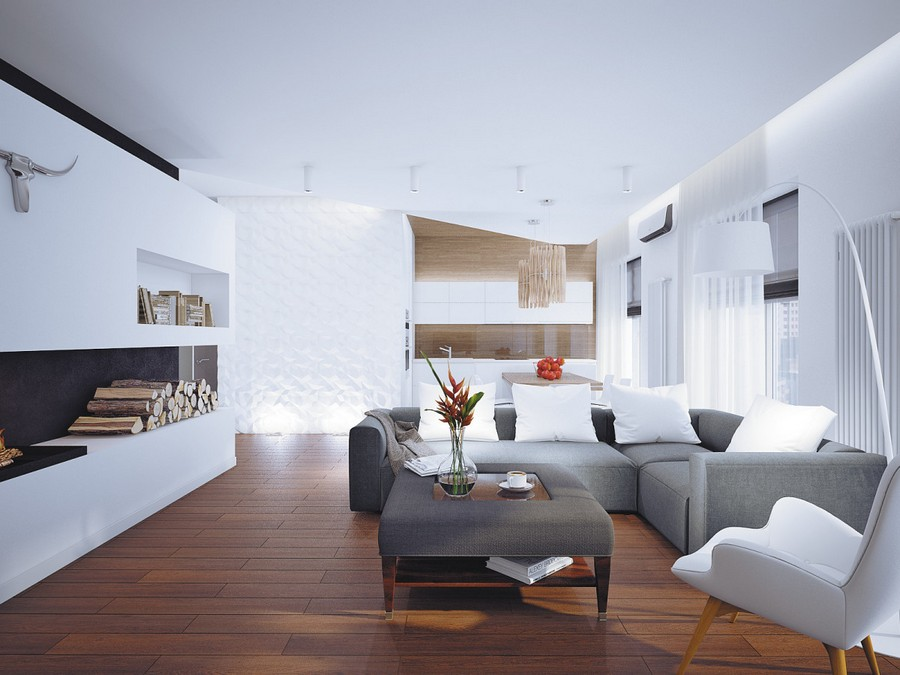 4-open-plan-minimalist-style-living-room-kitchen-dining-area-interior-white-black-walls-plasterboard-fireplace-surround-firewood-gray-sofa-wooden-table-pendant-lamps-chair-coffee-table-parquet-floor-asymmetrical-ceiling
