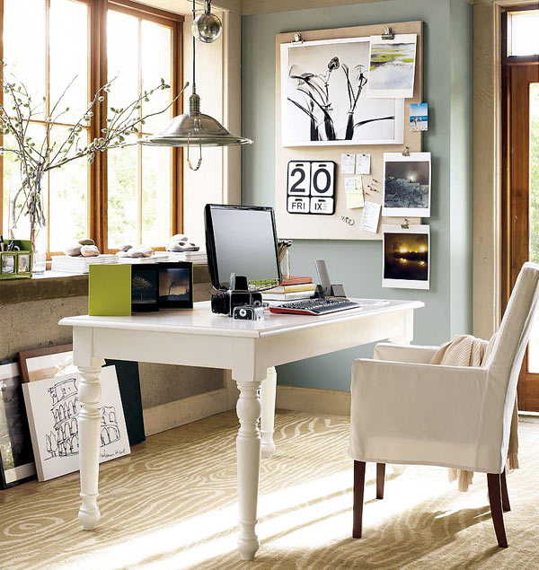 5-home-office-interior-design-ideas-inspiring-beautiful-cozy-work-area-mood-board-white-wooden-desk-carved-legs-pendant-lamp-arm-chair-spring