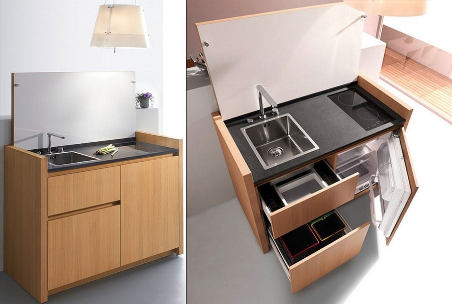 5-multifunctional-small-mini-kitchen-set-by-Kitchoo-France-mini-fridge-refrigerator-sink-black-worktop-countertop-wooden-cabinets