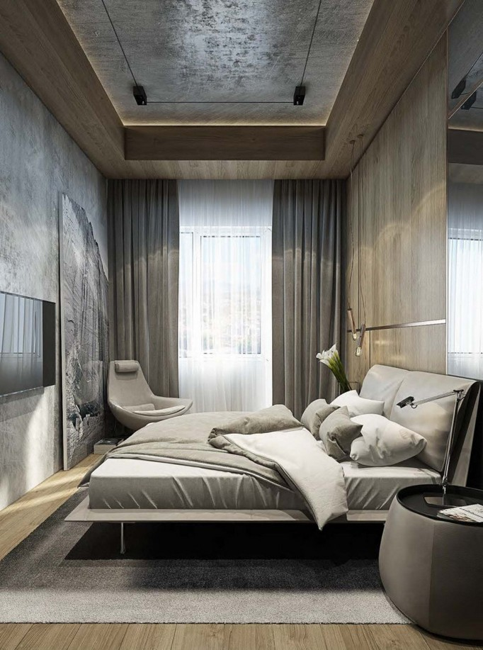 6-1-MDF-panels-boards-in-interior-design-wall-decoration-decor-gray-beige-and-brown-bedroom-narrow-elongated-room-arm-chair-TV