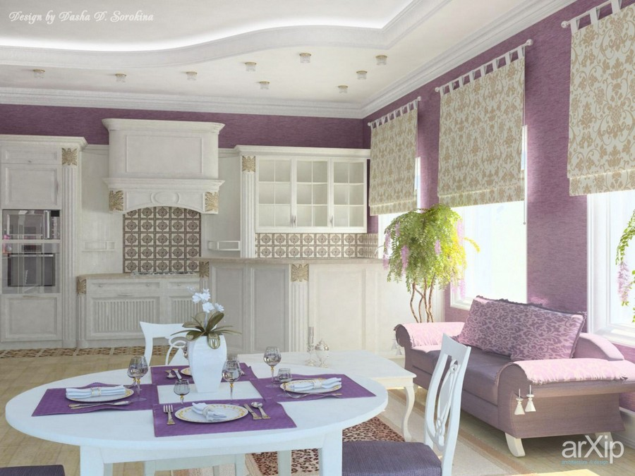 6-2-lilac-grey-color-in-interior-design-ktchen-walls-white-cabinets-neo-classical-style-sofa-couch-round-white-table