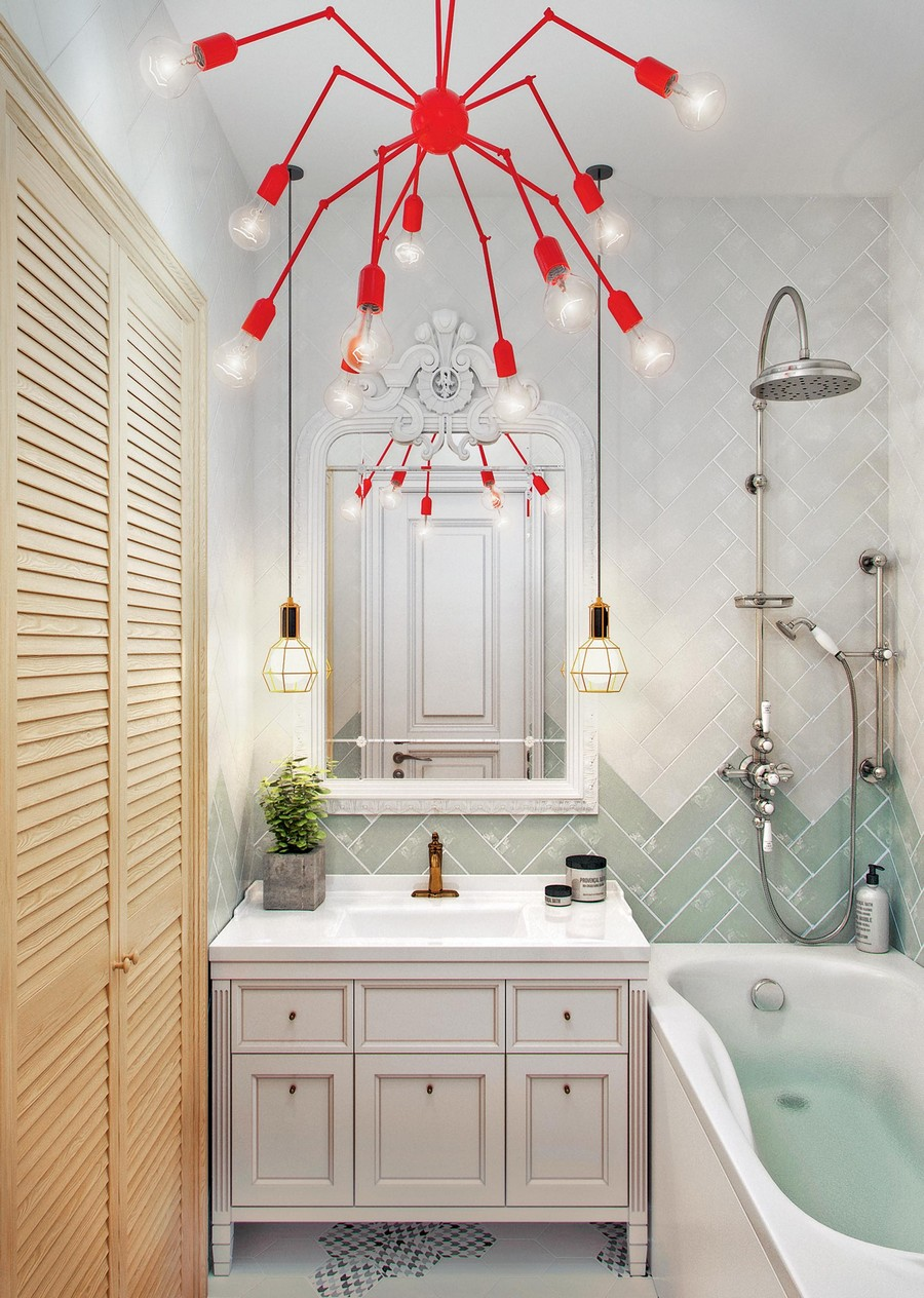 6-bathroom-white-gray-beige-light-interior-eclectic-laundry-plantation-shutters-wooden-vanity-unit-white-mirror-frame-pendant-lamps-exposed-bulbs-red-spider-shaped-loft-style-chandelier-tropical-shower-herringbone-tiles