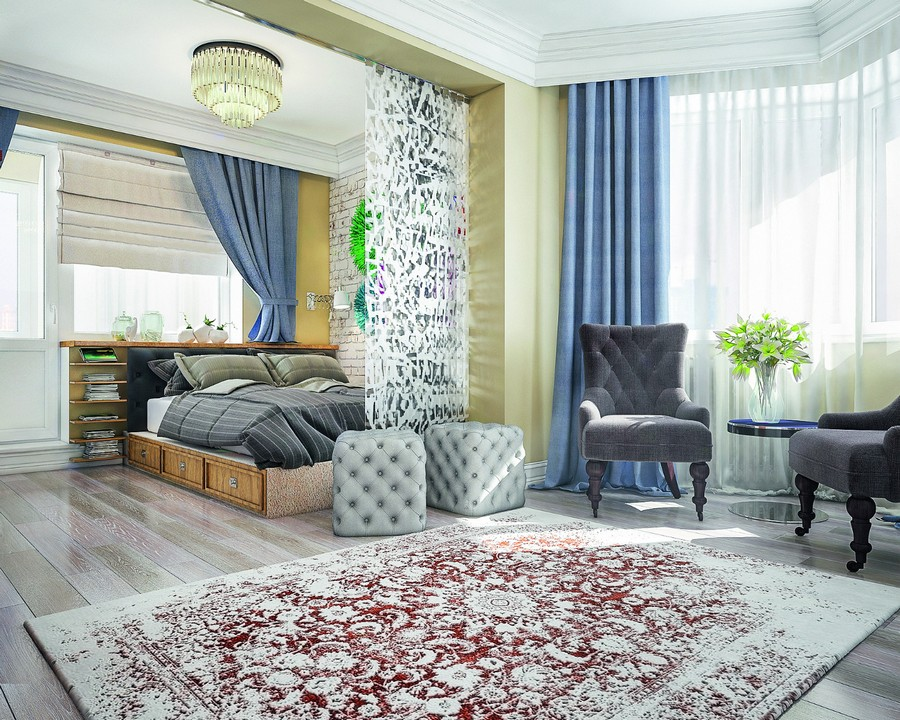 6-sleeping-area-in-the-living-room-bed-studio-apartment-glass-sandblasted-wall-partition-room-divider-blue-drapery-curtains-rug-gray-capitone-ottomans-arm-chairs-coffee-table-podium-roman-blinds