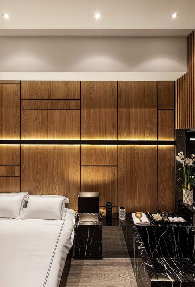 7-1-MDF-panels-boards-in-interior-design-wall-decoration-decor-bedroom-contemporary-style-natural-stone-black-nightstand-LED-band-lights-mirrored-surface