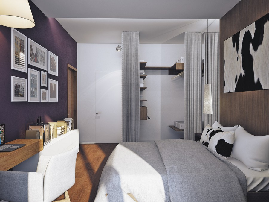 7-3-contemporary-chalet-style-bedroom-parquet-boards-on-the-wall-cow-skin-wall-decor-pendant-lamps-gray-bedspread-arm-chair-curtained-walk-in-closet-white-invisibke-door-work-area-desk-wall-art