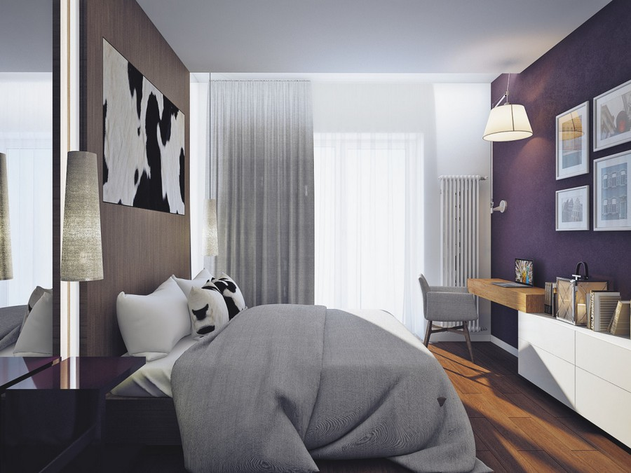 7-4-contemporary-chalet-style-bedroom-parquet-boards-on-the-wall-cow-skin-wall-decor-pendant-lamps-gray-bedspread-arm-chair-curtains-work-area-desk-wall-art-big-lamps-nightstand