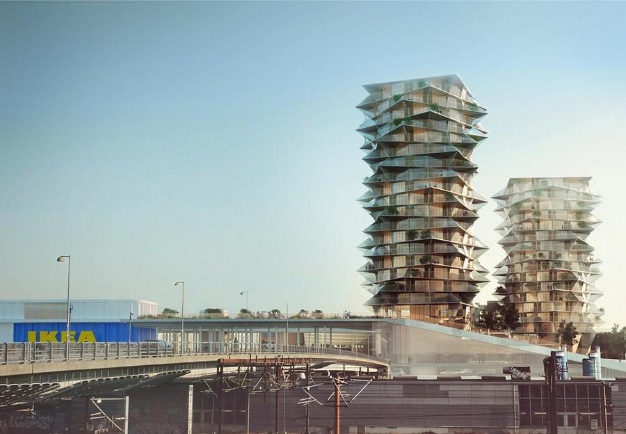 7-Cacti-Towers-project-3D-renders-in-Copenhagen-new-urban-IKEA-mall-hotel-Denmark-modern-architecture-unusual-buildings-hexagonal-balconies