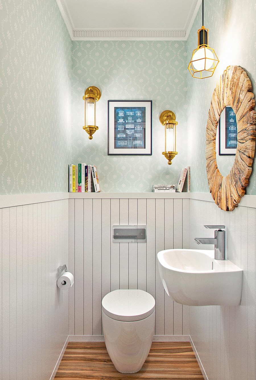 7-WC-bathroom-interior-light-gray-cellulose-based-paper-wallpaper-wall-covering-oval-toilet-wall-mounted-sink-round-mirror-wooden-frame-wall-panelling-white-shelves-lamps-pendant