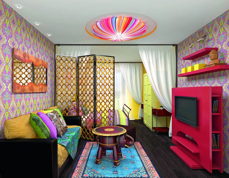 7-bright-multicolor-oriental-Indian-style-living-rooom-sleeping-area-bed-red-TV-set-surround-stand-decoartive-screen-room-divider-ceiling-lamp-elephant-shaped-coffee-table-sofa-wardrobe-rug-wallpaper