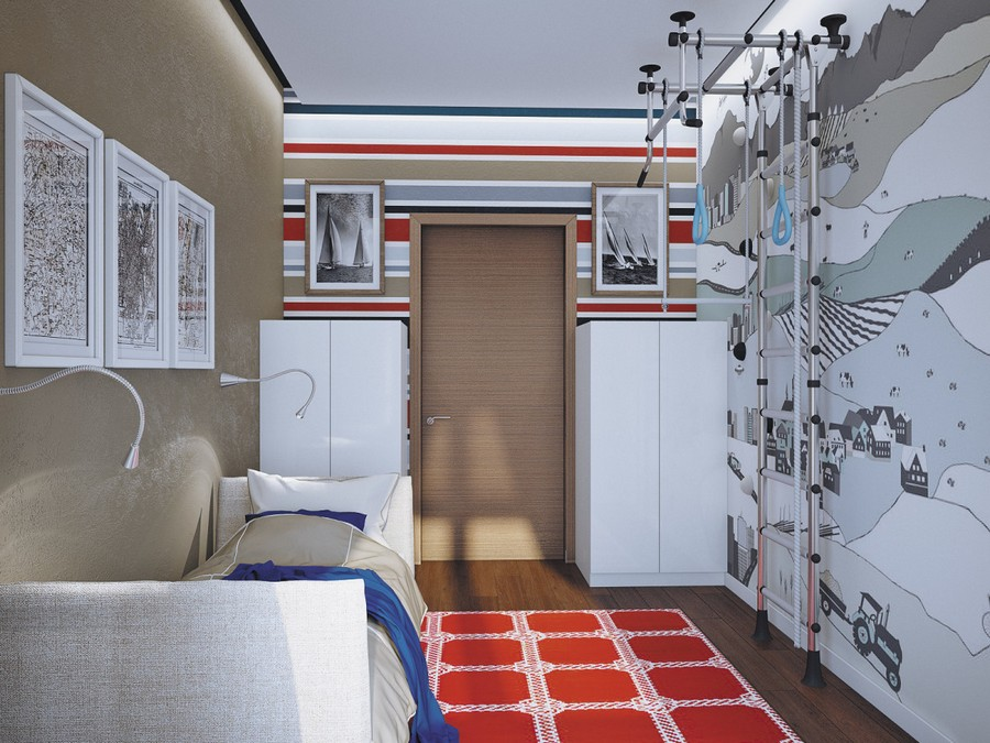 8-2-kid's-room-boy's-bedroom-interior-design-gray-brown-wall-sofa-lamps-LED-strip-light-vertical-bars-gym-white-cabinets-red-rug-striped-wallpaper-wall-mural-pictures