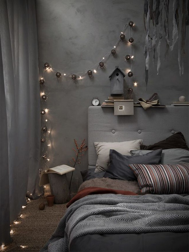 8-black-walls-black-walled-room-in-interior-design-gray-upholstered-bed-curtains-dark-room-holiday-lights