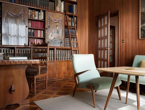 9-Italian-villa-interior-design-by-Osvaldo-Borsani-dark-wood-study-arm-chairs-home-library-wooden-walls-parquet-floor-antique-furniture