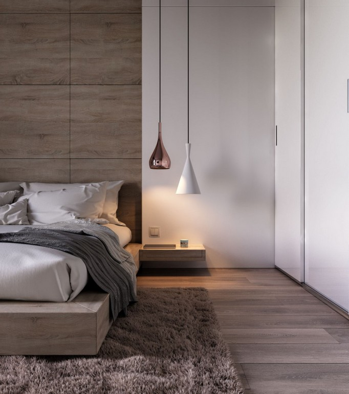 9-MDF-panels-boards-in-interior-design-wall-decoration-decor-bedroom-accent-wall-contemporary-style-shaggy-rug-pendant-lamps-floating-wall-mounted-nightstands-white-built-in-closet