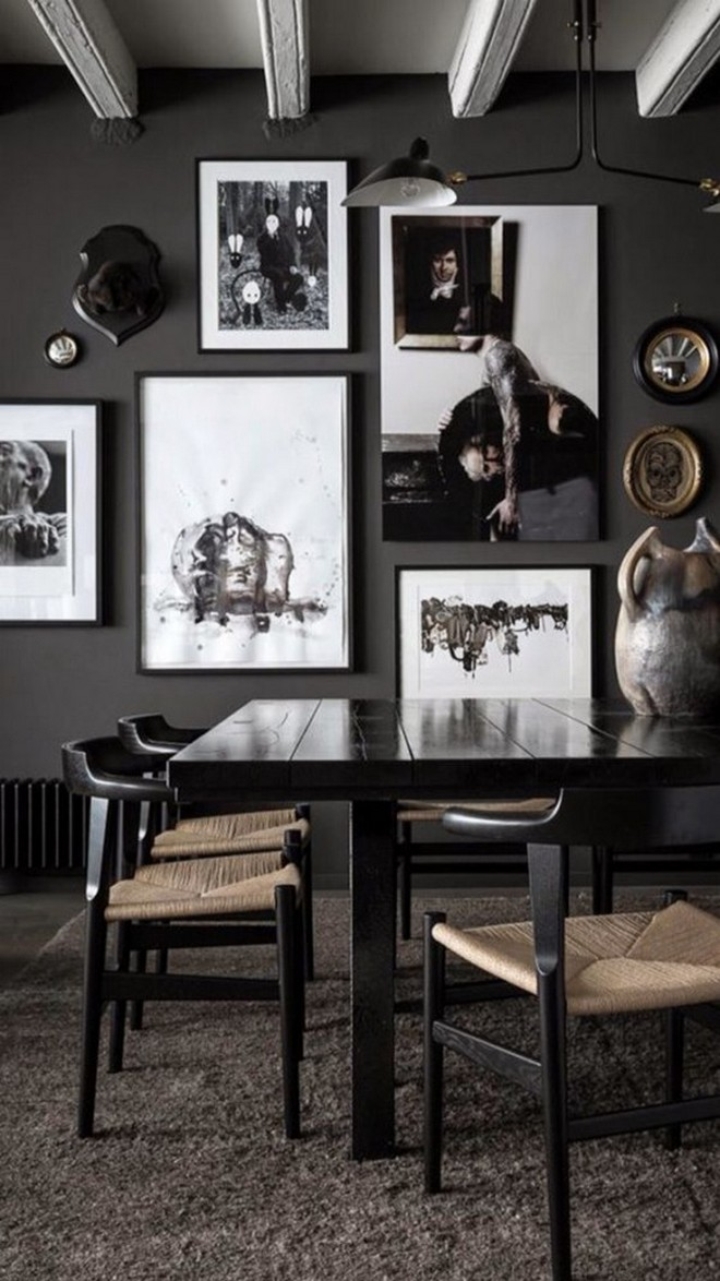 9-black-walls-black-walled-room-in-interior-design-dining-room-wall-art-brown-chair-cushions-dark-wood-table-ceiling-beams