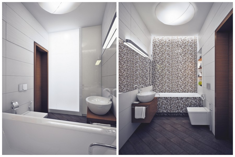 9-contemporary-style-bathroom-interior-design-white-walls-floral-wall-tiles-by-Porcelanosa-wall-mounted-toilet-floating-vanity-unit-top-mounted-sink-wash-basin-bathtub-ceiling-lamp-wall-recesses